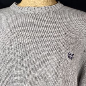 Chap Gray Cable Knit Pullover Crewneck Sweater Emb